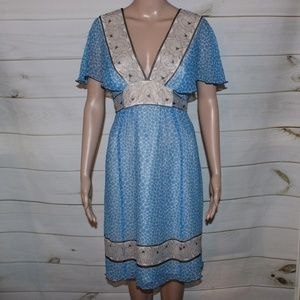 Anna Sui Anthropologie Silk Patterned Dress